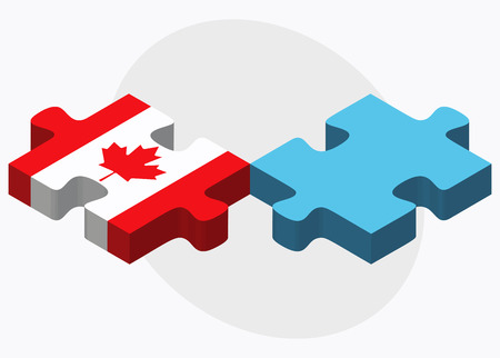 fiji: Canada and Fiji Flags in puzzle isolated on white background