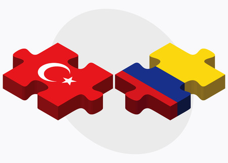 republic of colombia: Turkey and Colombia Flags in puzzle isolated on white background Illustration