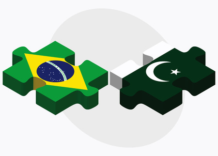 Brazil and Pakistan Flags in puzzle isolated on white background Illustration