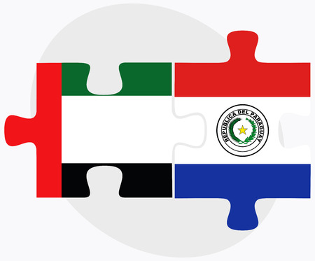 arab flags: United Arab Emirates and Paraguay Flags in puzzle isolated on white background Illustration