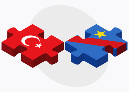 zaire: Turkey and Democratic Republic Congo Flags in puzzle isolated on white background