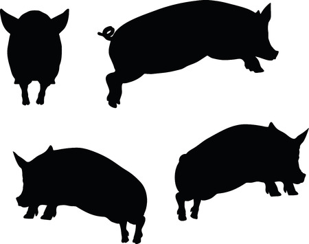 squealer: Vector Image, pig silhouette, in Jump pose, isolated on white background