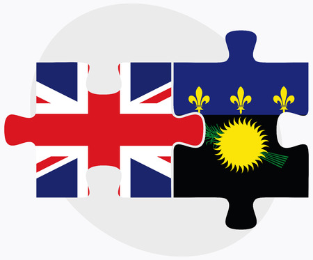 guadeloupe: United Kingdom and Guadeloupe Flags in puzzle isolated on white background Illustration