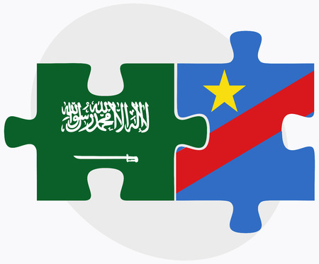 zaire: Saudi Arabia and Democratic Republic Congo Flags in puzzle isolated on white background Illustration