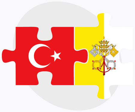 vatican city: Turkey and Holy See - Vatican City State Flags in puzzle isolated on white background