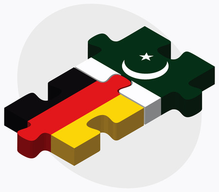 islamabad: Germany and Pakistan Flags in puzzle isolated on white background
