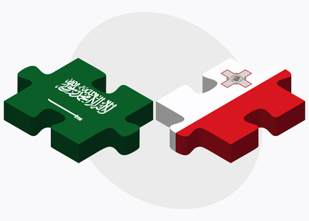 valletta: Saudi Arabia and Malta Flags in puzzle isolated on white background
