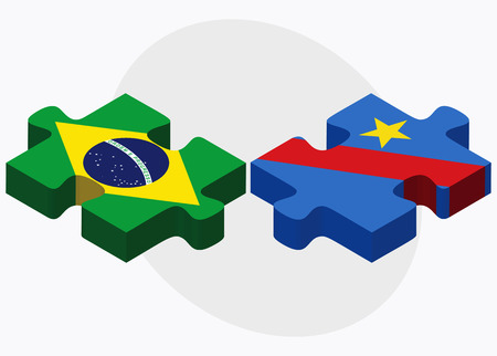 zaire: Brazil and Democratic Republic Congo Flags in puzzle isolated on white background