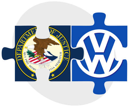 editorial: ISTANBUL, TURKEY - OCTOBER 21, 2015: United States Department of Justice and Volkswagen in puzzle form on white background. Illustration