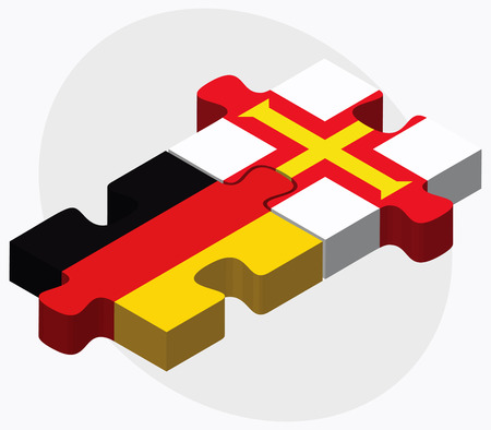 bailiwick: Germany and Guernsey Flags in puzzle isolated on white background