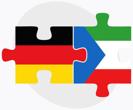 equatorial guinea: Germany and Equatorial Guinea Flags in puzzle isolated on white background