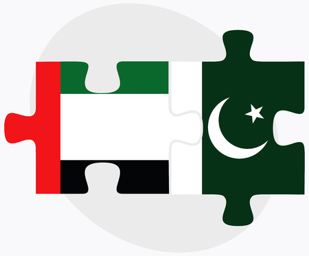 islamabad: United Arab Emirates and Pakistan Flags in puzzle isolated on white background