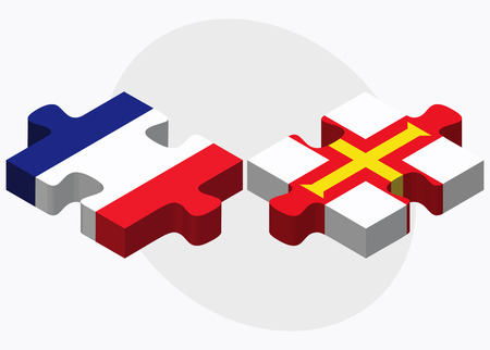 guernsey: France and Guernsey Flags in puzzle isolated on white background Illustration