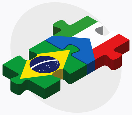 equatorial guinea: Brazil and Equatorial Guinea Flags in puzzle isolated on white background