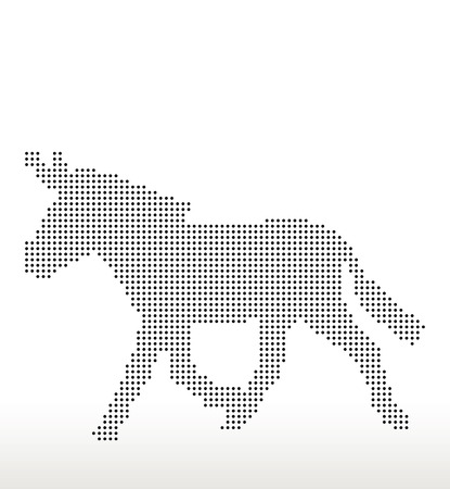 trot: Vector Image, donkey silhouette, in trot pose, isolated on white background Illustration