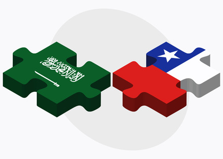 chilean: Saudi Arabia and Chile Flags in puzzle  isolated on white background