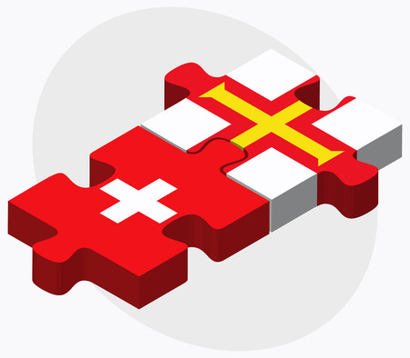 bailiwick: Switzerland and Guernsey Flags in puzzle isolated on white background