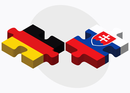 slovakian: Germany and Slovakia Flags in puzzle isolated on white background