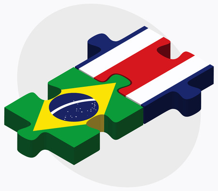 federative republic of brazil: Brazil and Costa Rica Flags in puzzle isolated on white background Illustration