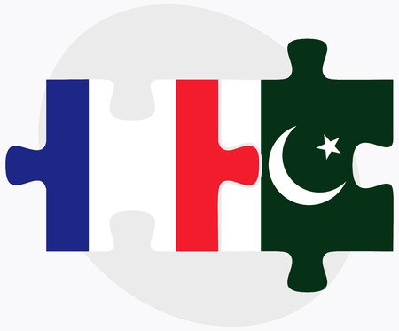 France and Pakistan Flags in puzzle isolated on white background Illustration