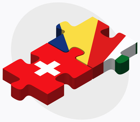seychelles: Switzerland and Seychelles Flags in puzzle isolated on white background Illustration