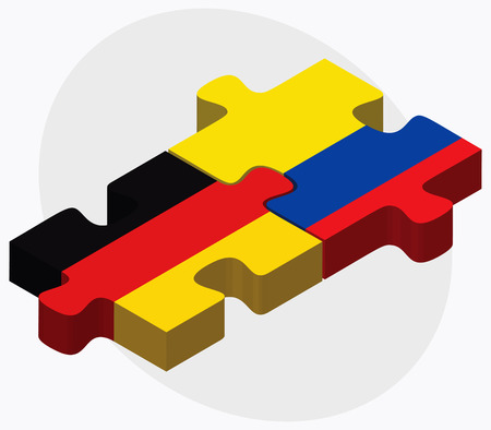 republic of ecuador: Germany and Ecuador Flags in puzzle isolated on white background Illustration