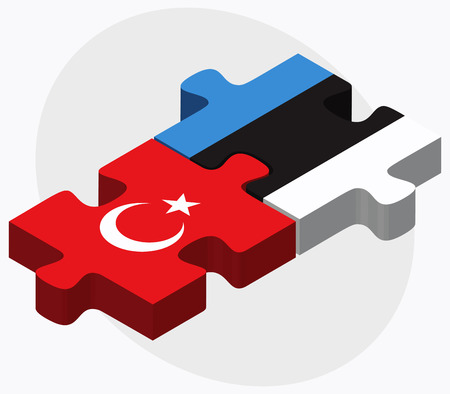 eurasian: Turkey and Estonia Flags in puzzle isolated on white background