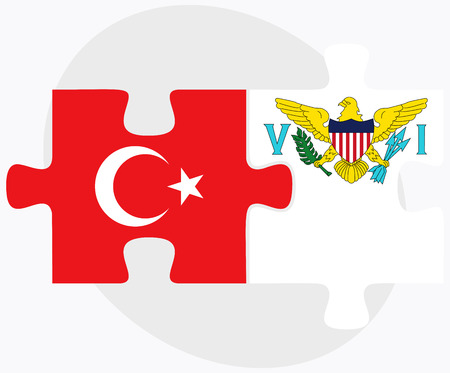 virgin islands: Turkey and Virgin Islands (U.S.) Flags in puzzle isolated on white background