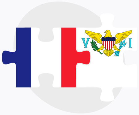 virgin islands: France and Virgin Islands (U.S.) Flags in puzzle isolated on white background Illustration