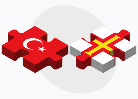 bailiwick: Turkey and Guernsey Flags in puzzle isolated on white background