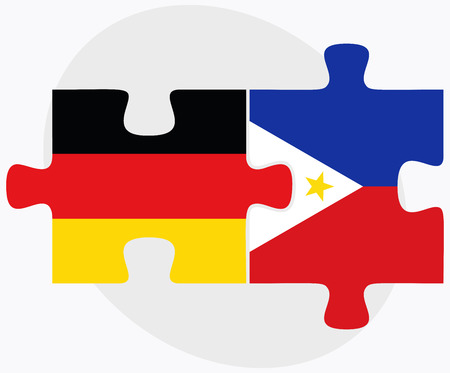 filipino: Germany and Philippines Flags in puzzle isolated on white background