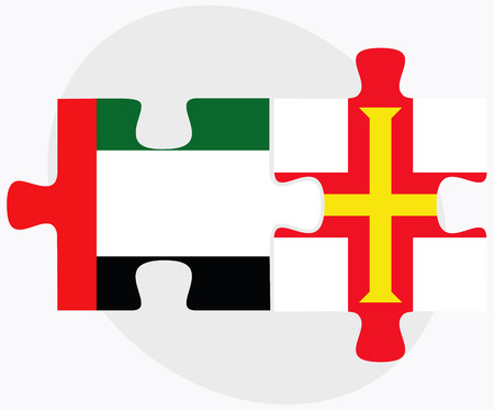 bailiwick: United Arab Emirates and Guernsey Flags in puzzle isolated on white background