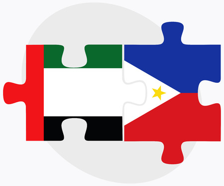 filipino: United Arab Emirates and Philippines Flags in puzzle isolated on white background