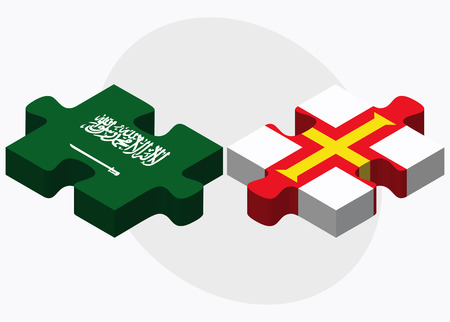 dependency: Saudi Arabia and Guernsey Flags in puzzle isolated on white background