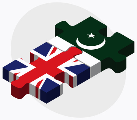islamabad: United Kingdom and Pakistan Flags in puzzle isolated on white background