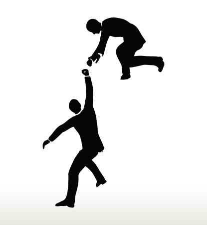 hand silhouette: silhouette of two businessmen team holding on with a helping hand