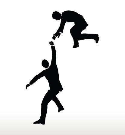ayudando: silueta de equipo de dos hombres de negocios que sostiene con una mano de ayuda Vectores
