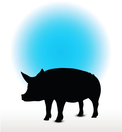 squealer: Vector Image, pig silhouette, in Curl Tail pose, isolated on white background Illustration