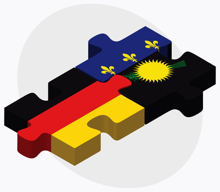 guadeloupe: Germany and Guadeloupe Flags in puzzle isolated on white background