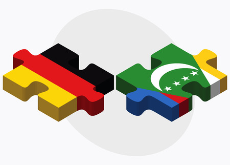 federal republic of germany: Germany and Comoros Flags in puzzle isolated on white background Illustration