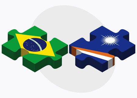 federative republic of brazil: Brazil and Marshall Islands Flags in puzzle isolated on white background