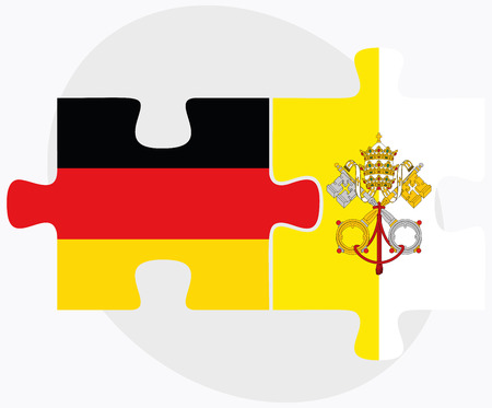 vatican city: Germany and Holy See - Vatican City State Flags in puzzle isolated on white background