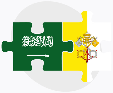 vatican city: Saudi Arabia and Holy See - Vatican City State Flags in puzzle isolated on white background Illustration