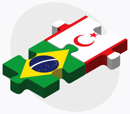 federative republic of brazil: Brazil and Turkish Republic of North Cyprus Flags in puzzle isolated on white background Illustration