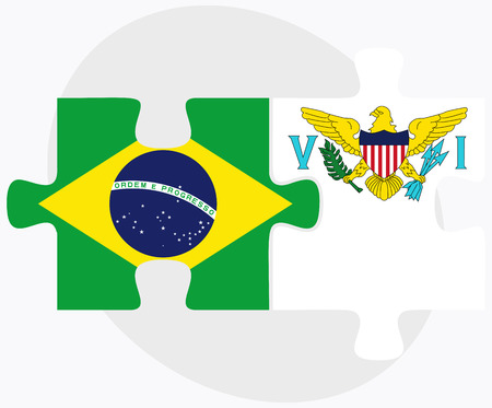 virgin islands: Brazil and Virgin Islands (U.S.) Flags in puzzle isolated on white background Illustration
