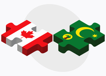 cocos: Canada and Cocos (Keeling) Islands Flags in puzzle isolated on white background Illustration
