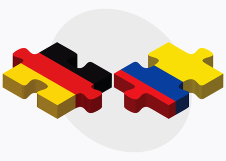 ecuador: Germany and Ecuador Flags in puzzle isolated on white background Stock Illustratie