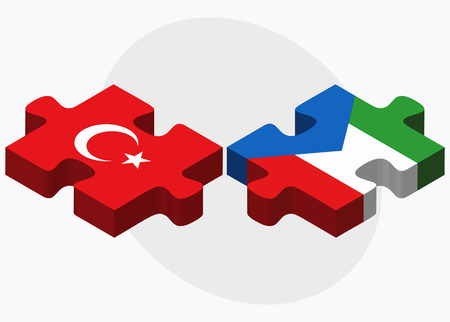 guinea equatoriale: Turkey and Equatorial Guinea Flags in puzzle isolated on white background