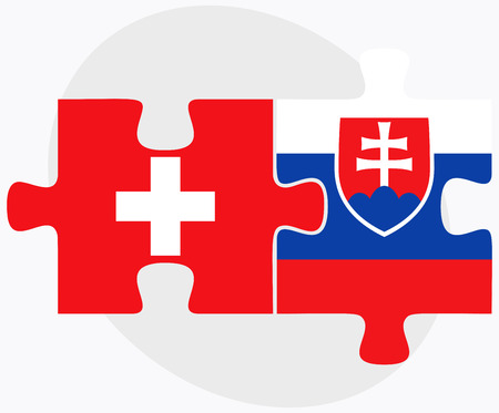 slovakian: Switzerland and Slovakia Flags in puzzle isolated on white background