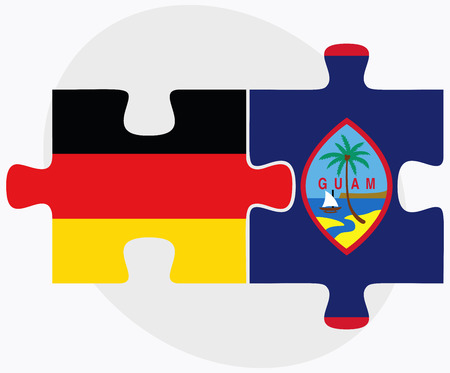 filipino: Germany and Guam Flags in puzzle isolated on white background
